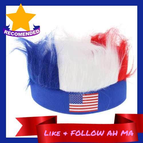 Best Selling Anself America Flag Football Soccer Fans Wig Head Cap European Cup FIFA World Cup Sports Carnival Festival Cosplay Costume (Us)
