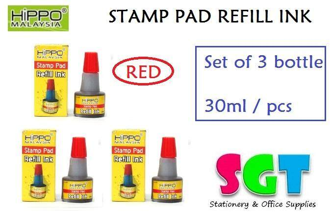 HIPPO Stamp pad Refill ink 30ml ( set of 3 ) Red Colour