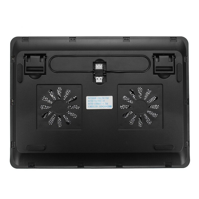 Fans & Heatsinks - 2 Fan Notebook Cooling Pad Computer Stand Laptop Cooler Super Silent With US - Components