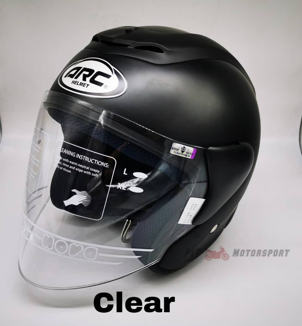 MATT BLACK Helmet ARC RITZ Size L / XXL Add On Visor Clear / Smoke / Gold / Red / Blue / Rainbow Visor & Helmet ARC