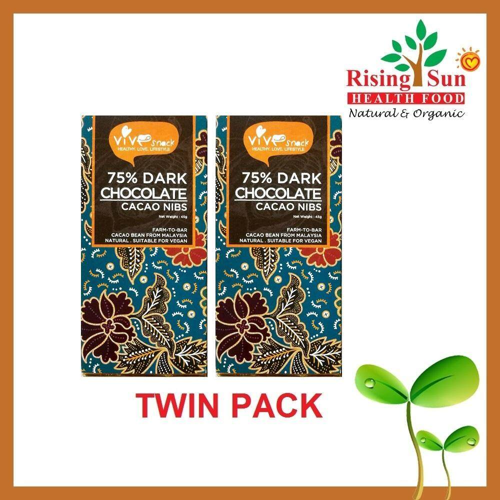 ViVe Snack 75% Dark Chocolate (Cacao Nibs) 45g x 2 - TWIN PACK