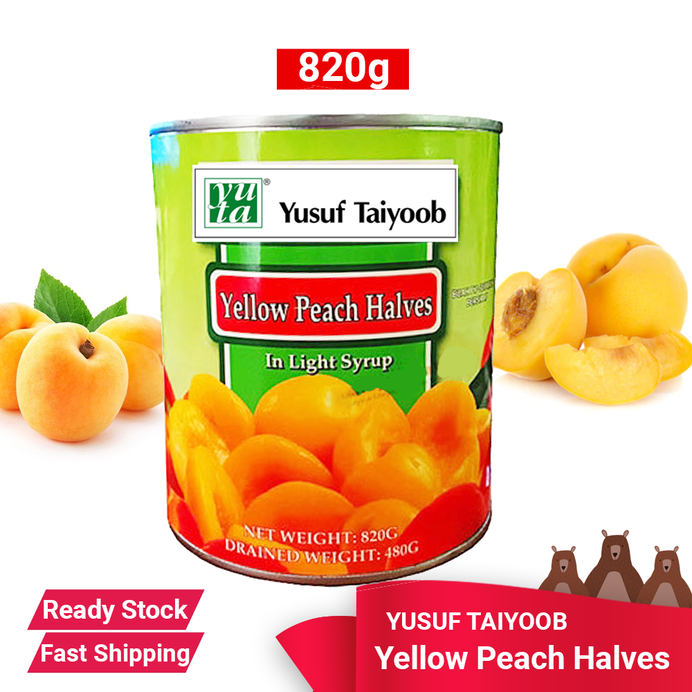 YUSUF TAIYOOB PEACH HALVES IN SYRUP 820G - READY STOCK FAST SHIPPING Peach Halves syrup Dessert ingredient fruit salad