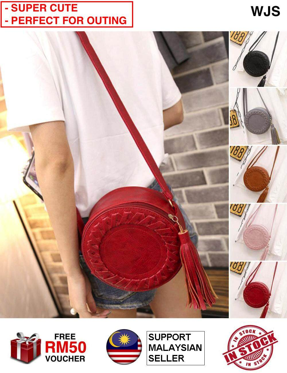 (IDEAL FOR ANY OUTING) WJS Women Round Cute Tassel Handbag Shoulder Bag PU Leather Cross Body Bag Hand Bag Sling Round Weave Zipper [FREE RM50 VOUCHER]