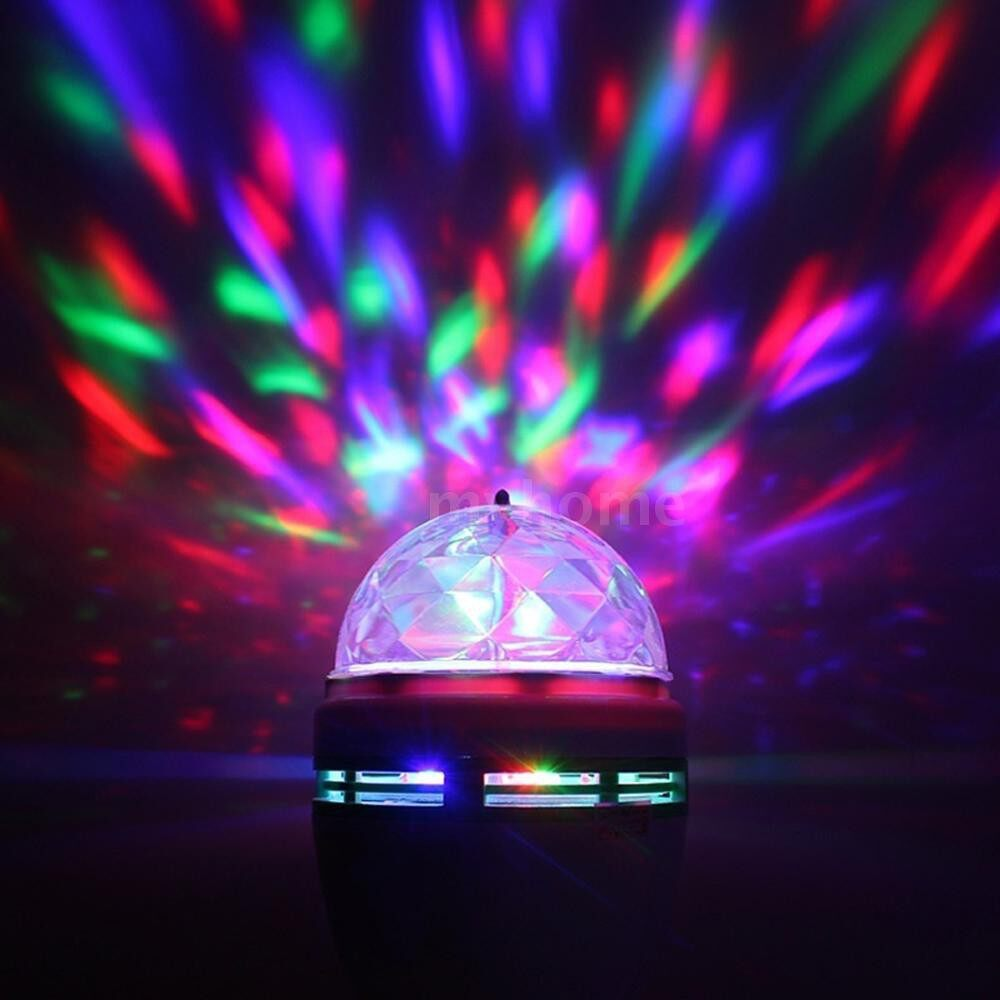 Lighting - 1 PIECE(s) 3W E-27 RGB Rotary LED Stage Light Small Magic Ball Lamp Lighting for Glow Party Dance Floor - #