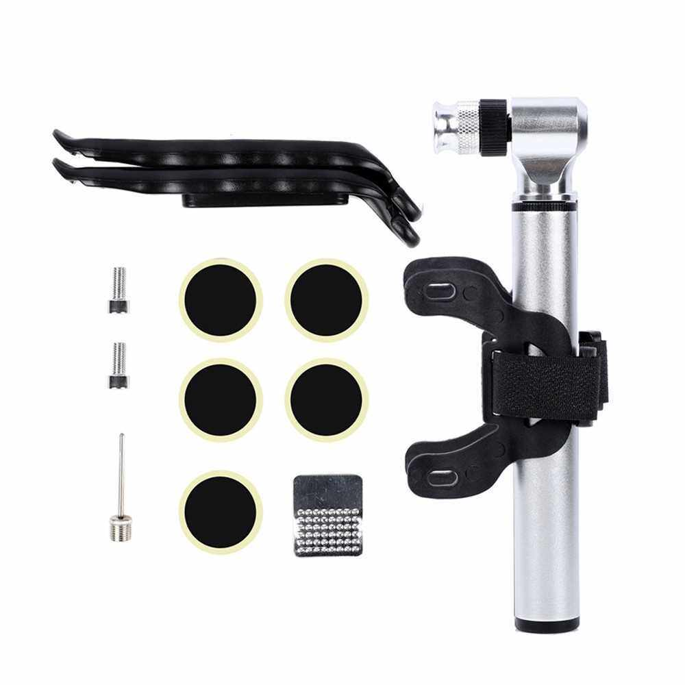 160PSI / 11Bar Mini Floor Bike Pump Tire Inflation Securepresta and Schrader Valve-Ball Needle Tire Repair Kit Included (Silver)