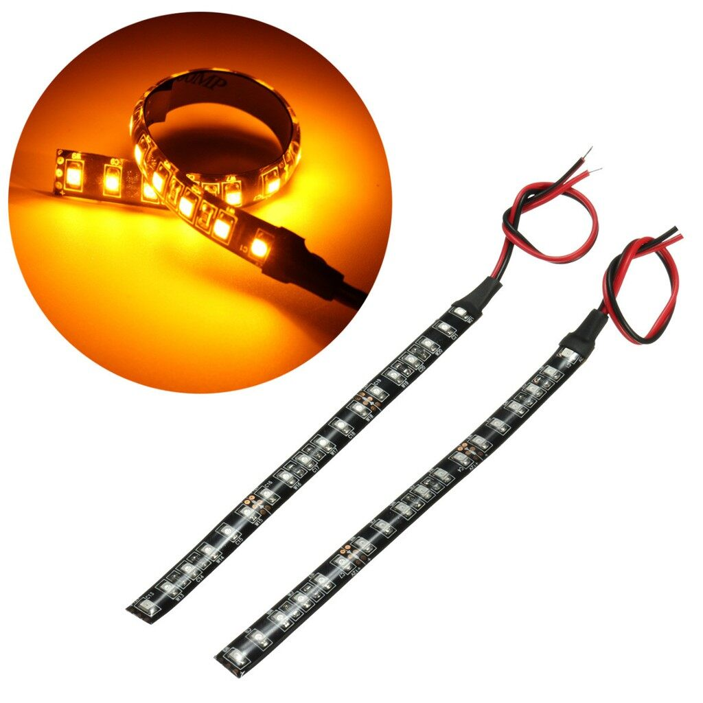 Moto Accessories - 2x Bright Amber 18 LED Car Motorcycle Flexible Turn Signal Indicator Light Strip - Motorcycles, Parts