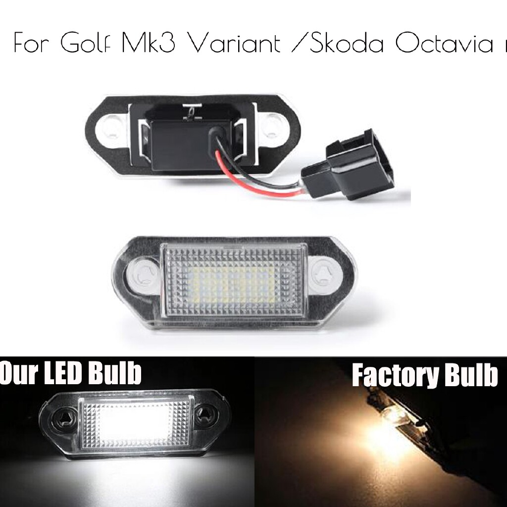 Car Lights - Pair LED License Number Plate Light Lamp Bulbs For VW Golf MK3 Skoda Octavia I - Replacement Parts