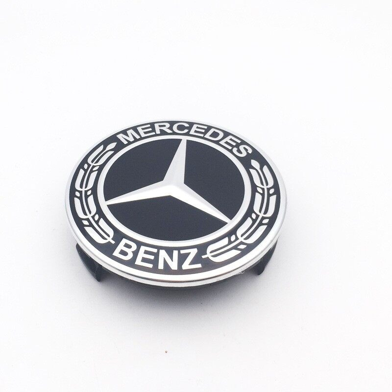 75mm Car Wheel Center Hub Cap Emblem Laurel Wreath for Mercedes-Benz - BLACK / RED