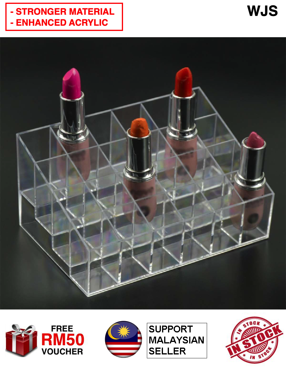 (ENHANCED MATERIAL) WJS 24-Slot Clear Acrylic Lipstick Display Holder Stand Cosmetic Organizer Organiser Make Up Stand Rack Storage Make Up Box Case Container Akrilik Gincu Solekan Crystal Clear [FREE RM 50 VOUCHER]
