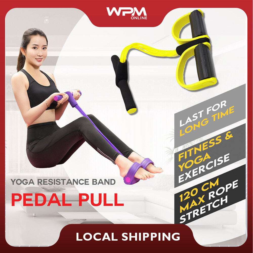 【Ready Stock】Elastic Bands Pedal Rope Puller Exerciser Tractor Elastic Calf Rope Sit-ups Abdomen Leg Tensioner Foot Puller