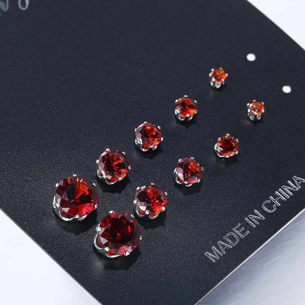 Best Selling 5 Pairs/Lot Simple Cubic Alloy Earrings Men Women 6 Claws Round Zircon Ear Nail Ladies Fashion Charm Ear Stud Wedding Jewelry (Red)