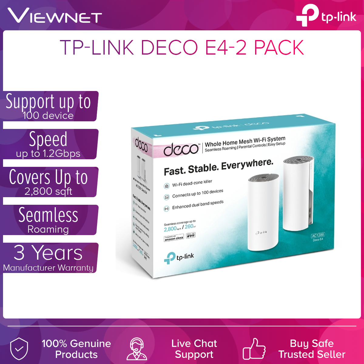 [Fast Shipment🚀] Tp-Link Deco E4 (2-Pack) AC1200 Whole Home Mesh Wi-Fi System