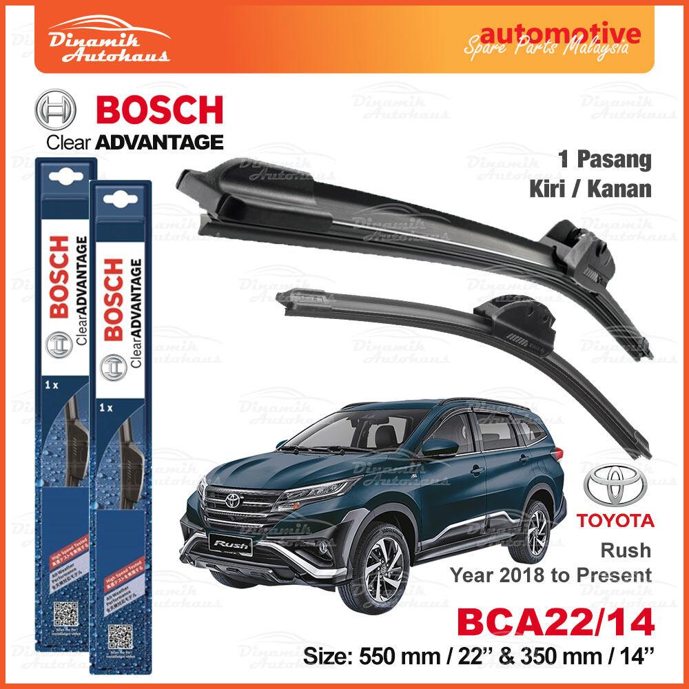 "Toyota Rush Year 2018 To Present Car Front Windshield Soft Wiper Blades 22"" / 14"" - Bosch Clear Advantage Wiper BCA2214"