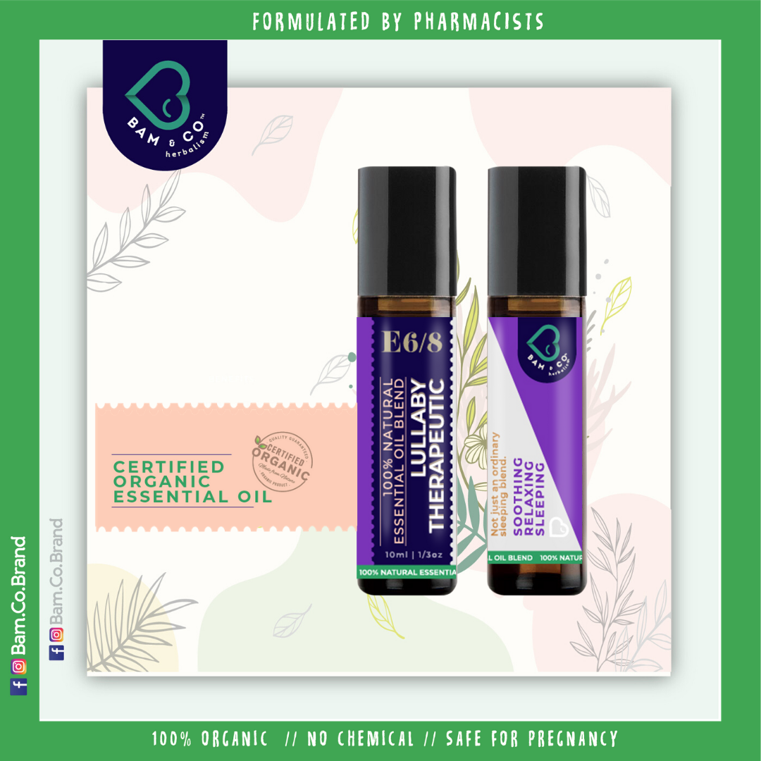 BAM & CO 100% NATURAL LULLABY THERAPEUTIC ESSENCE LAVENDER ROLL ON ORGANIC ESSENTIAL OIL ROLL ON 10ML