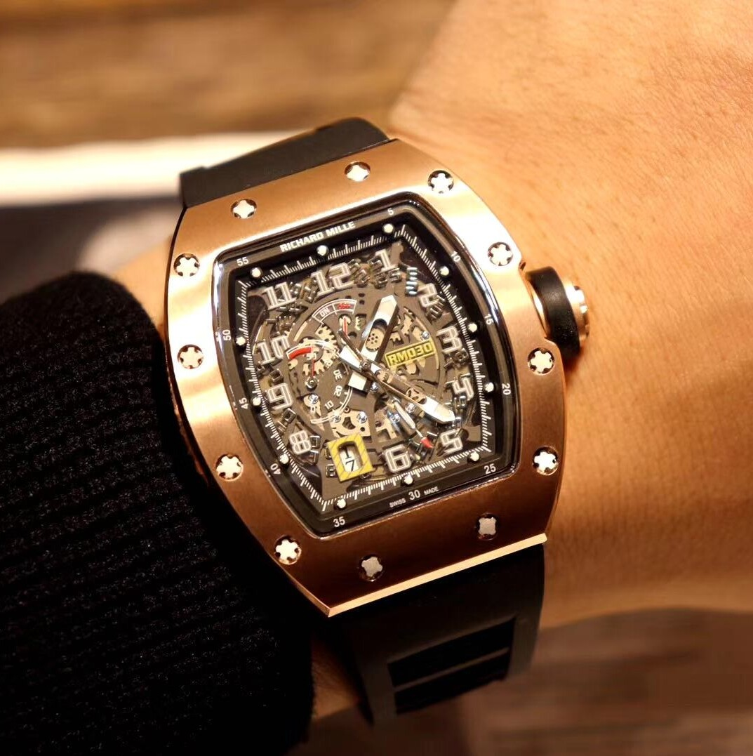 New 030 Rose Gold Big Date Skeleton Dial Miyota Automatic Mens Watch Black Crown Black Rubber Sports Limited Cheap Cool Watches B23b2