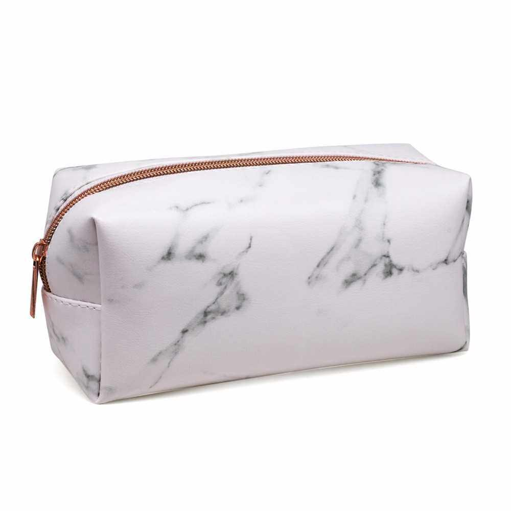 Marble Makeup Bag Portable Cosmetics Pouch Large Capacity Storage Case Travel Organizer (Rose Gold)