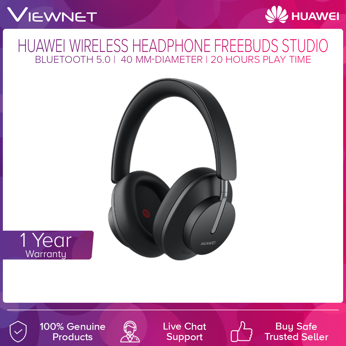 Huawei FreeBuds Studio Wireless Headphone with Bluetooth 5.0, 40 mm-Diameter, 20 Hours Play Time, High Resolution Music, Quick Charge, Smart Control