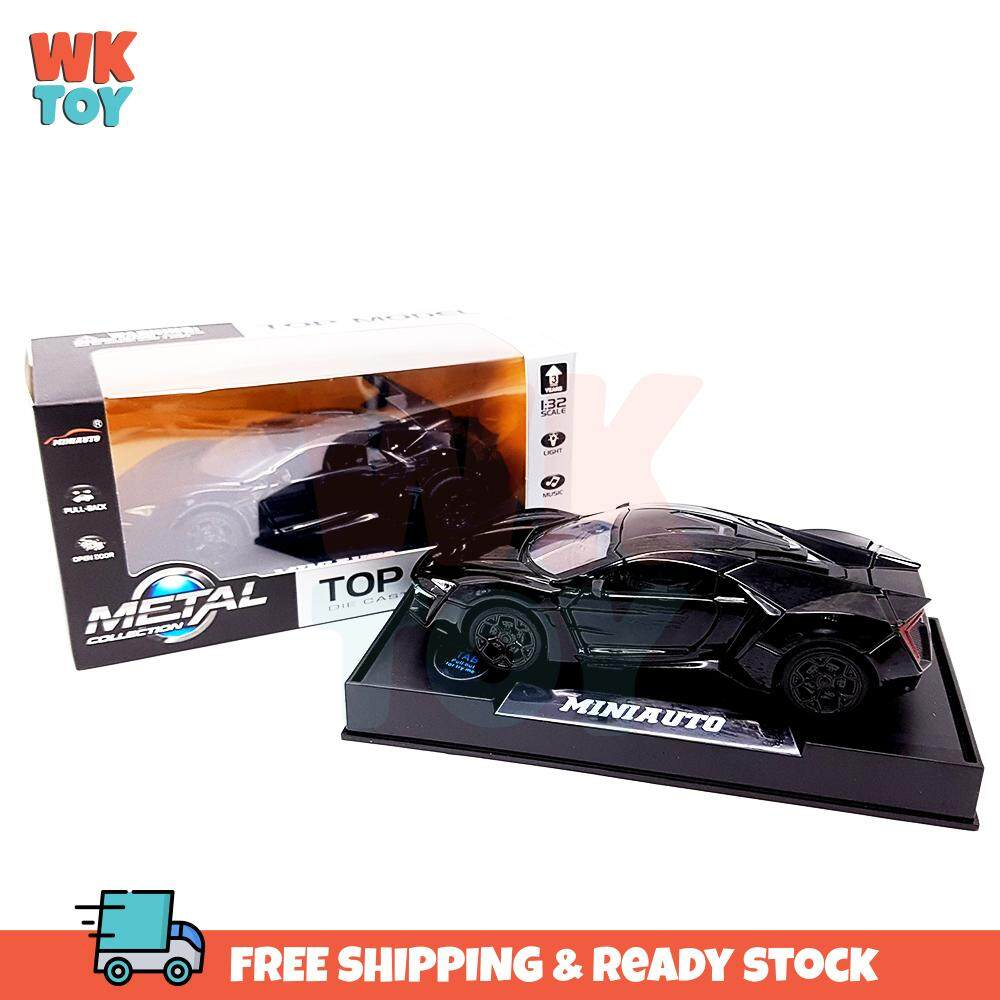 WK 1:32 Lykan Hypersport Alloy Die cast Model Cars Sound & Ligh pull back car toys Gifts