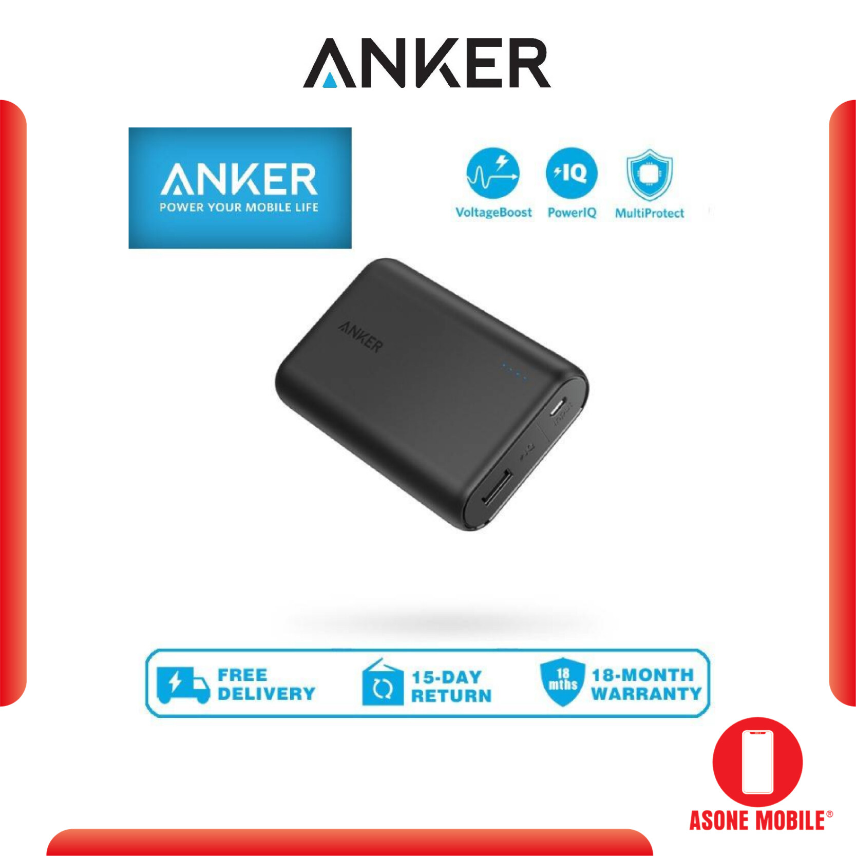 Original Anker A1263 PowerCore 10000mAh Compact Portable Charger Power Bank with VoltageBoost