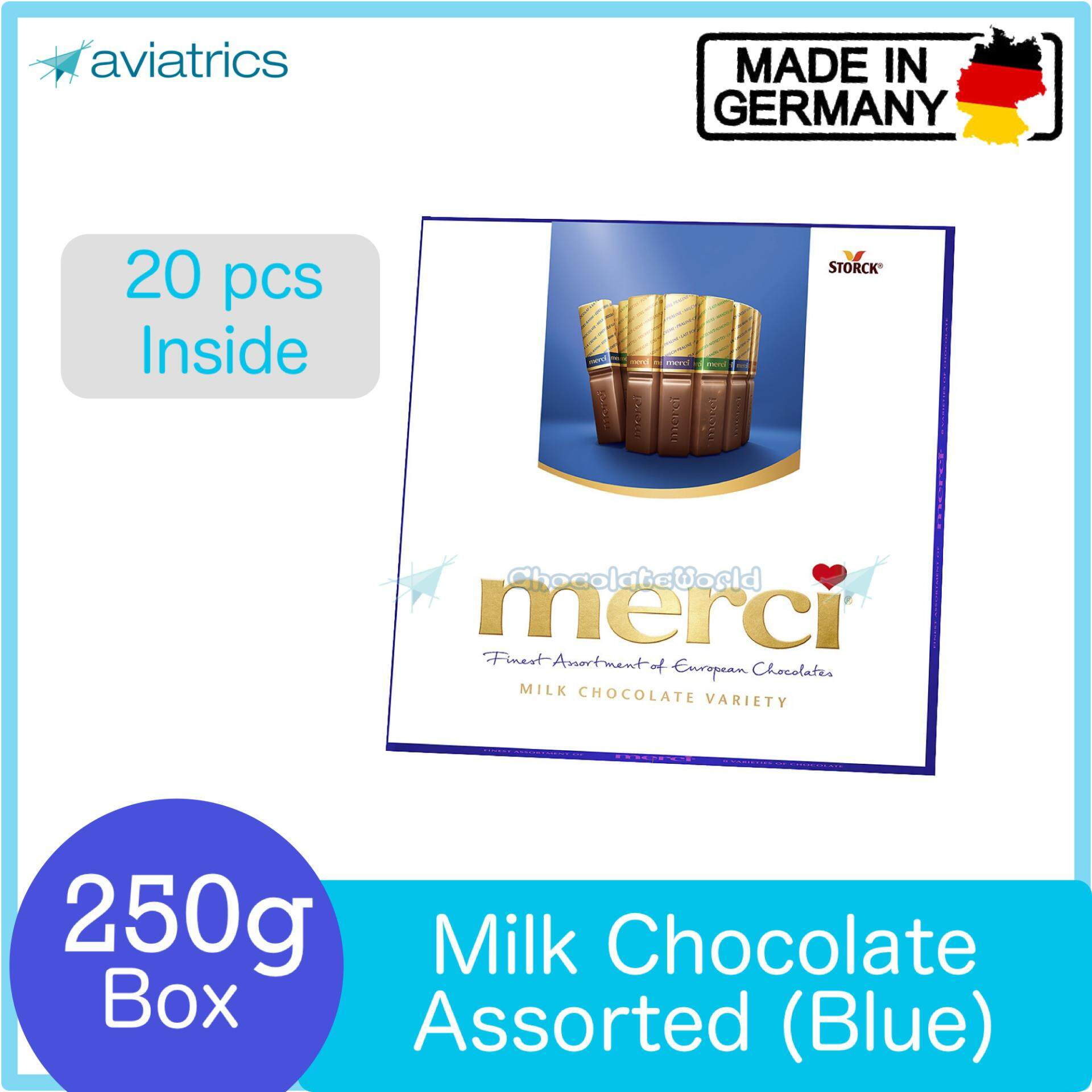 Merci Finest Selection Assorted European Milk Chocolate Blue 250g (Made in Germany)
