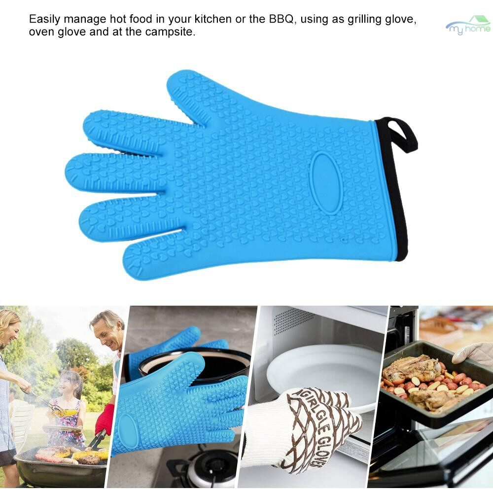 Protective Clothing & Equipment - 1 PIECE(s) Silicone Glove Kitchen Heat Resistant Gloves Barbecue Grilling Glove High Temperature - ORANGE / RED / BLUE / YELLOW