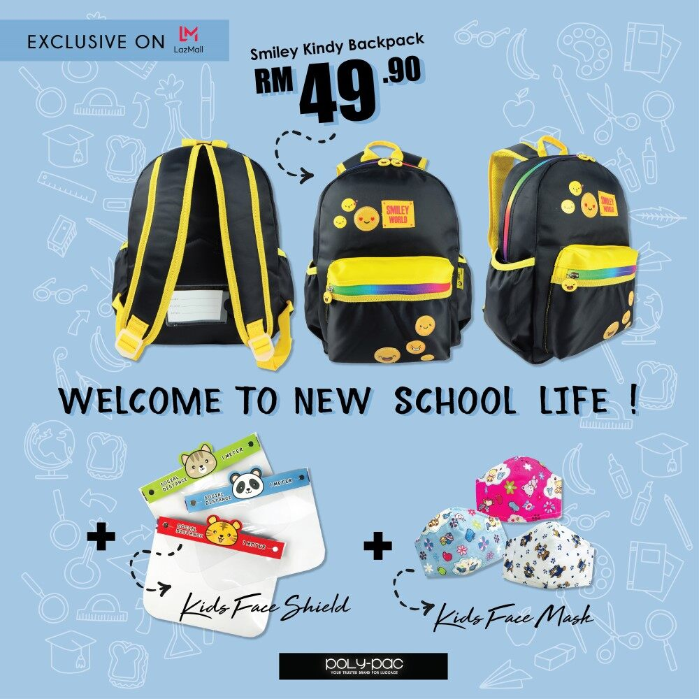 Smiley SK1959 14 Inch Kindy School Bag SET(School Bag + Face Shield + Reusable Face Mask)