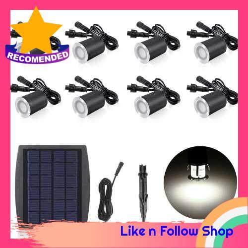3.2V 0.2W 8PCS Solar Deck Lights IP65 Waterproof Solar Garden Light Sensing Garden Paths Underground Lamp LED Floor Light White (White)