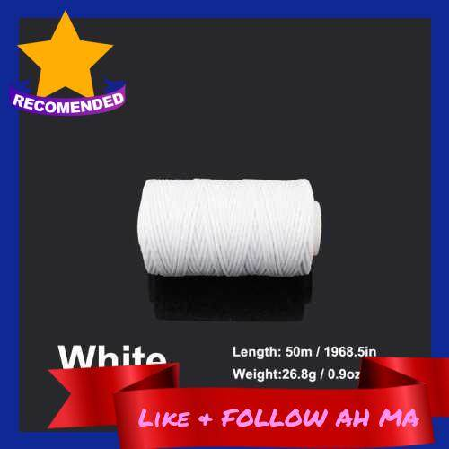 Best Selling 1.0mm 50 Meters Long Flat Waxed Thread Waxed String for Leather Sewing (White)