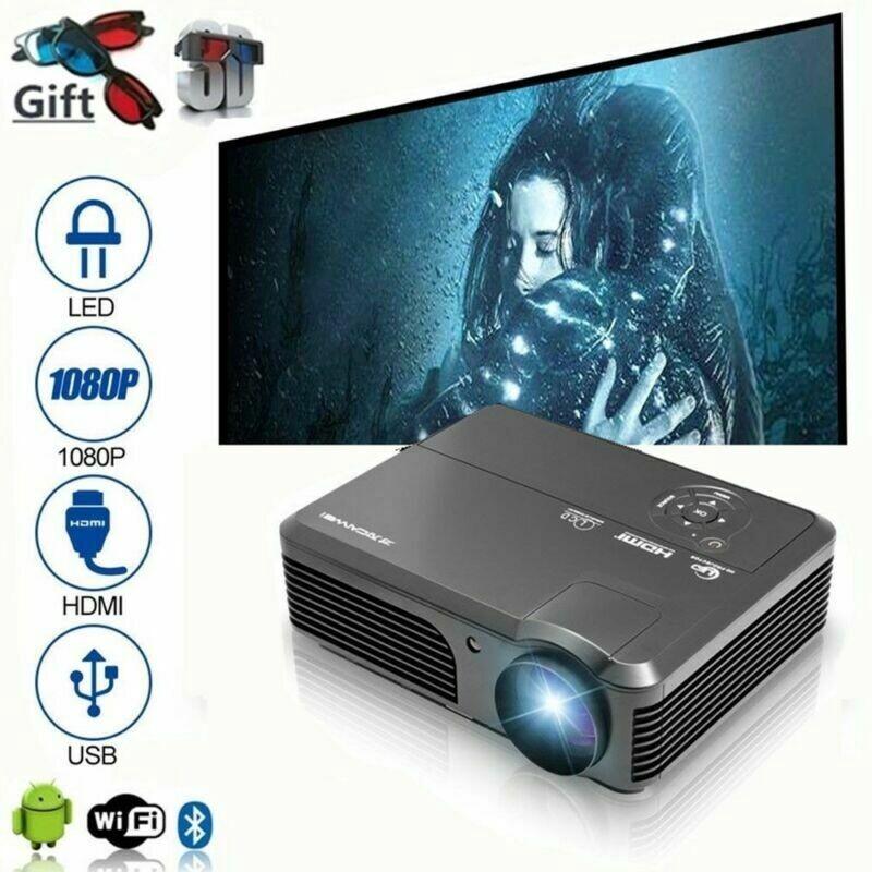 6000LM LED HD 1080P AV TV 3D Home Theater Projector WIFI BT 3LCD Cinema HDMI VGA