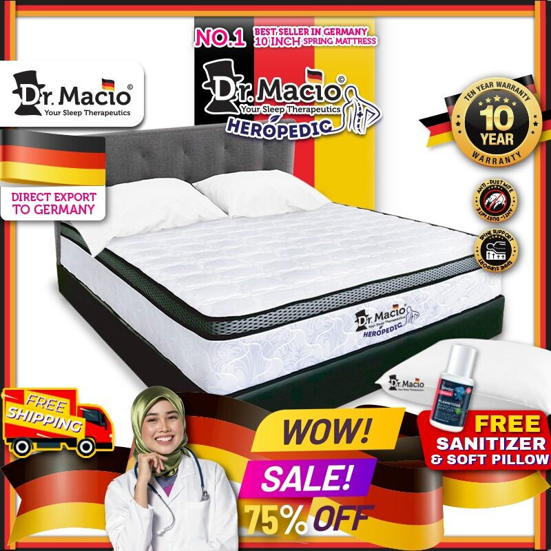 [ Free Shipping ] Dr Macio Heropedic (Queen) Mattress Ready Stock / Tilam Dr Macio 10 years warranty anti dustmite FREE pillow [ Fast Delivery ] [ Deliver in CMCO ]
