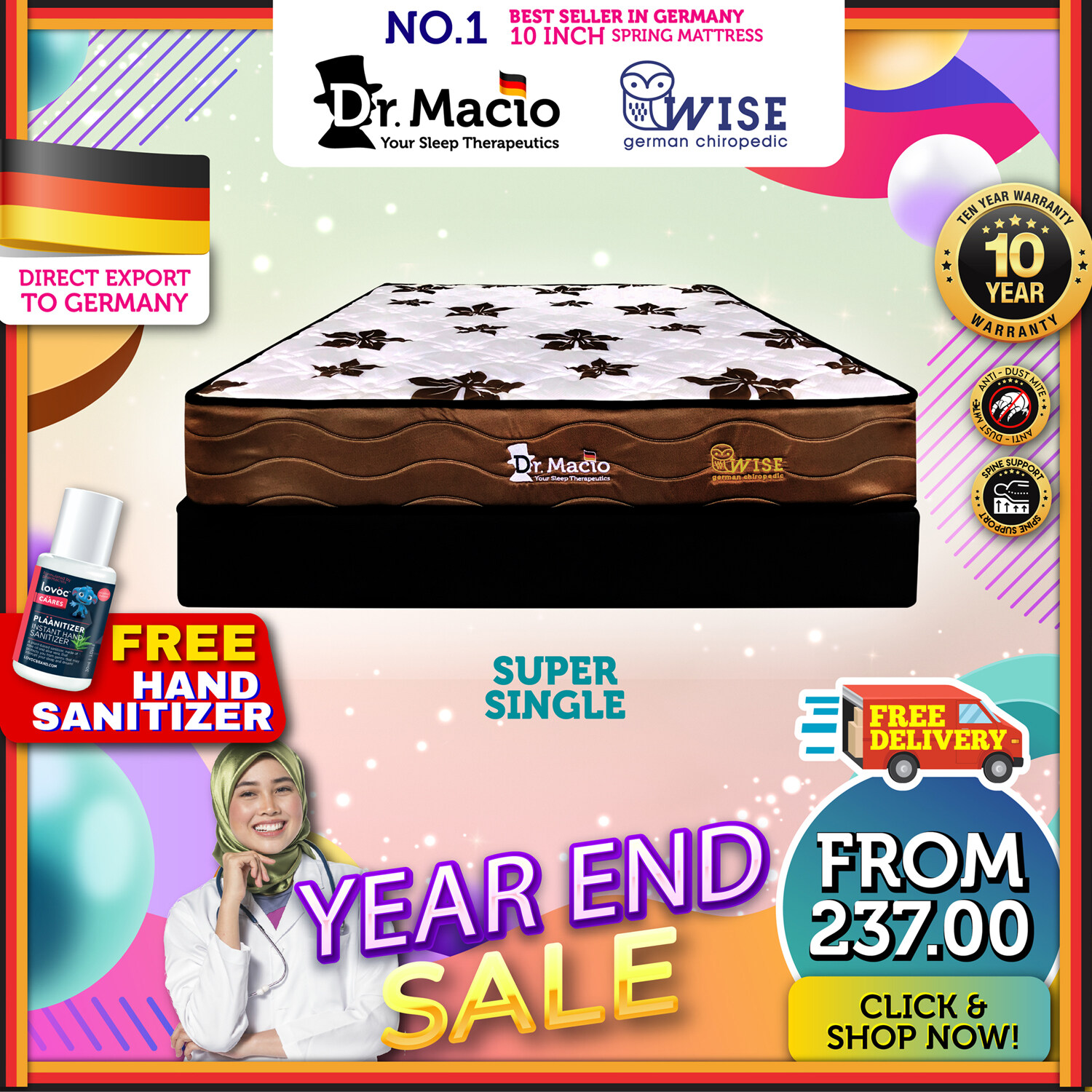 [ Free Shipping ] Dr Macio Wise  (Single) (Super Single) (Queen) (King) Mattress Ready Stock / Tilam Dr Macio 10 years warranty anti dustmite FREE gift [ Fast Delivery ] [ Deliver in CMCO ]