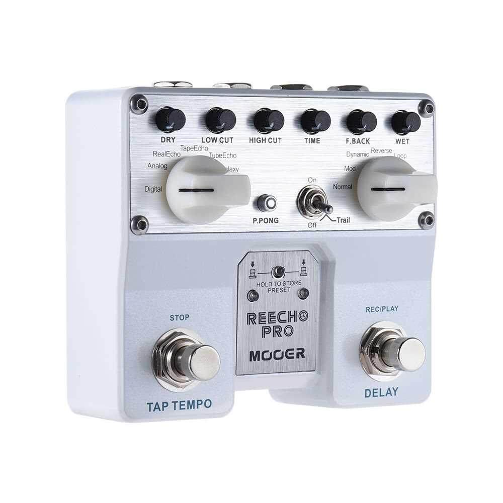 MOOER Reecho Pro Digital Delay Guitar Effect Pedal Twin Footswitch with 6 Delay Effects Loop Recording (20 Seconds) Function