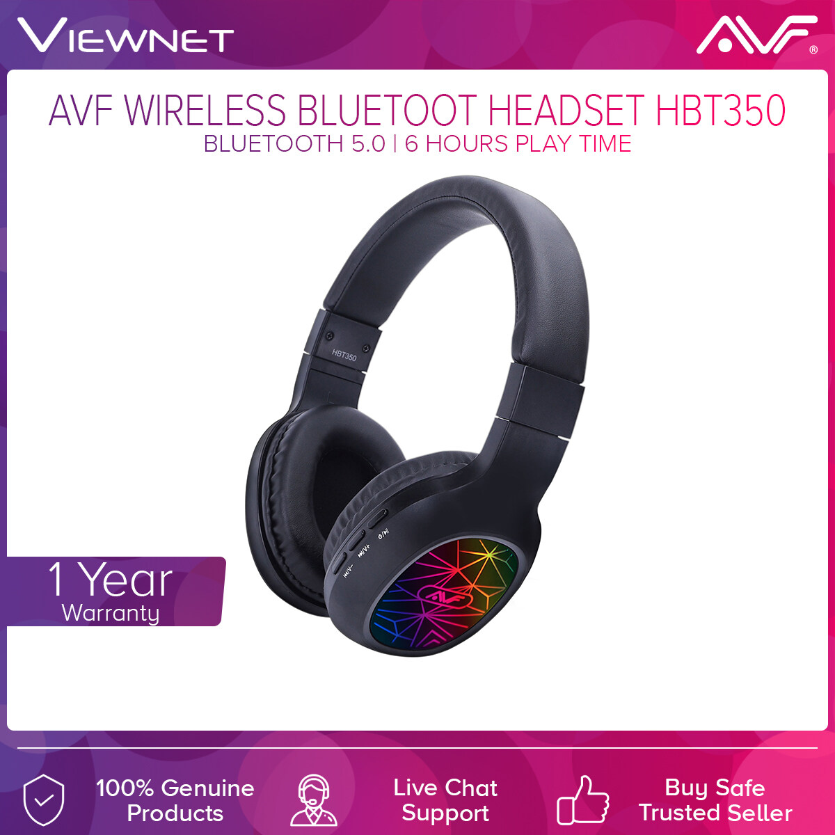AVF Wireless Bluetooth Headset HBT350 with Bluetooth, 6 Hours Play Time