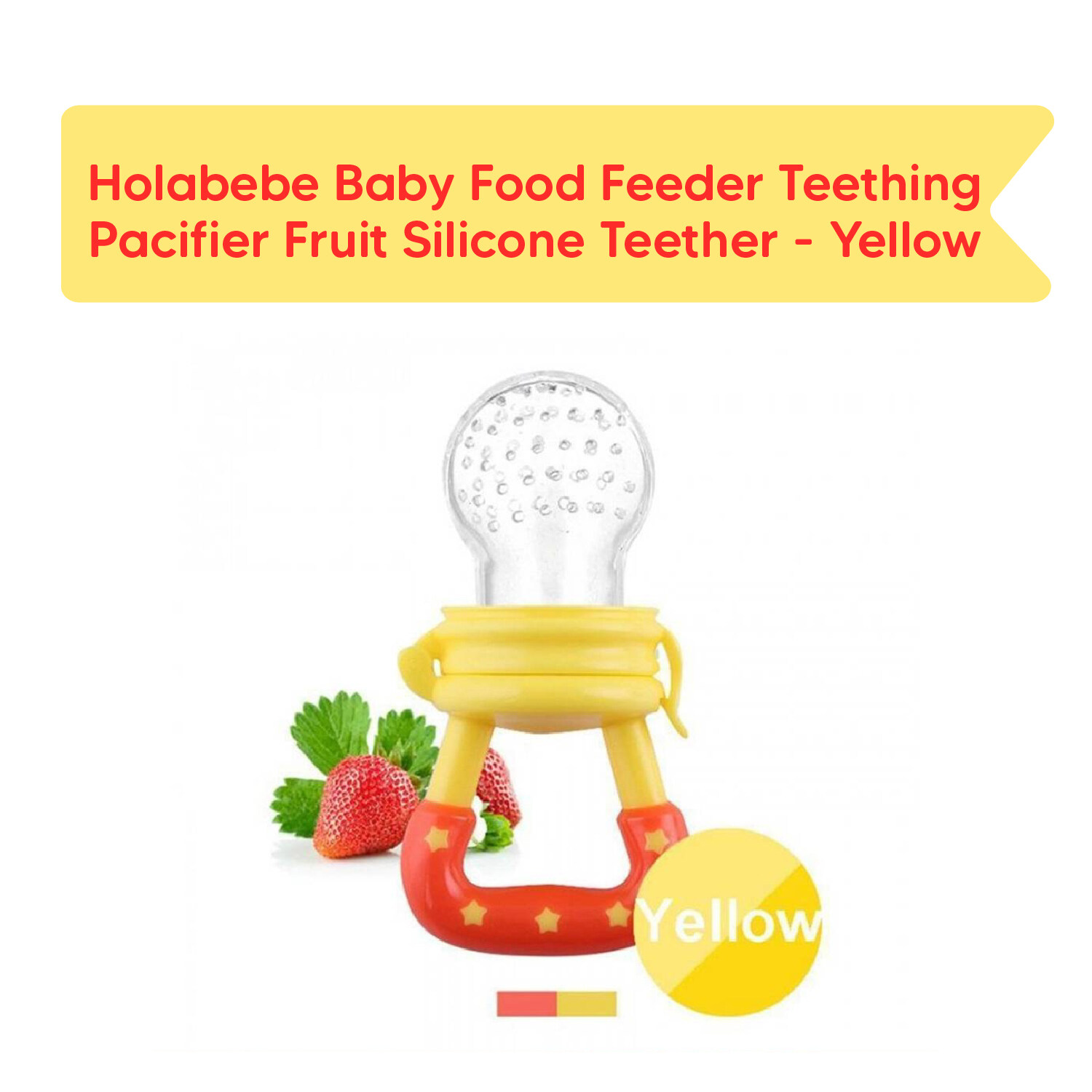 Holabebe - Baby food feeder teething pacifier fruit silicone teether (blue)