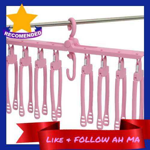 Best Selling Multifunctional Clothes Hanger Folding Hanger Set Wardrobe Clothing Hanger Coat Hanger Foldable Clothes Drying Rack Plastic Hanger for Traveling Business Trip (Pink)