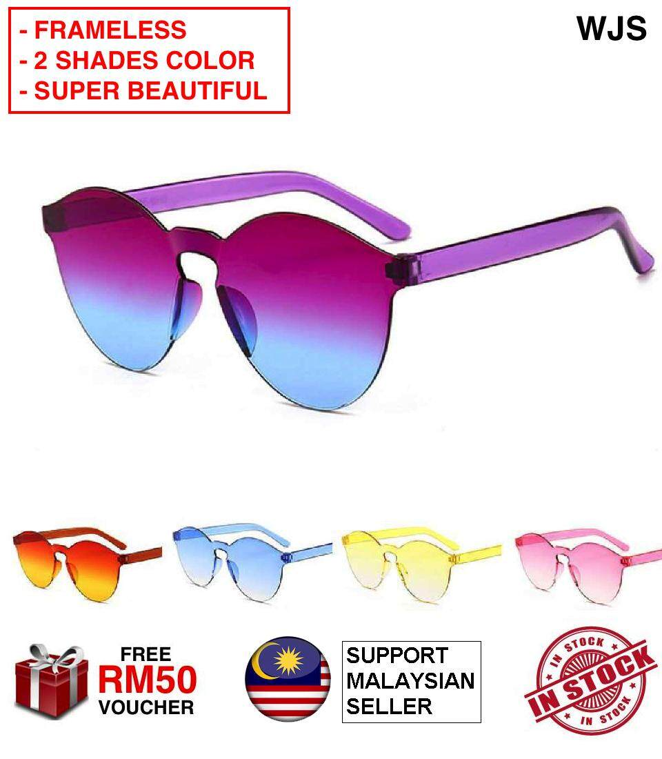 (2 SHADE COLORS + FRAMELESS) WJS Frameless Women Sunglasses Frameless Sunglass Fashion Clear Retro Spectacle Glasses Outdoor Frameless Eyewear MULTICOLOR [FREE RM 50 VOUCHER]
