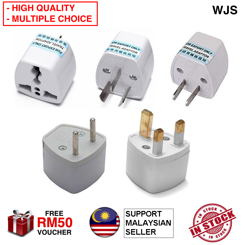 (HIGH QUALITY) WJS Universal Travel Plug Socket Adapter Converter for Oversea Appliances Travel Adapter Universal Adapter US PLUG