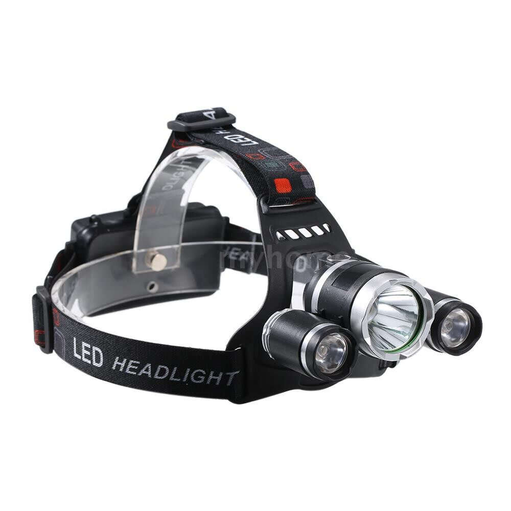Lighting - USB Rechargeable 3-heads LED Headlight 2400 Lumen ULTRA Bright Flashlight Work Heads Lamp for - BLACK