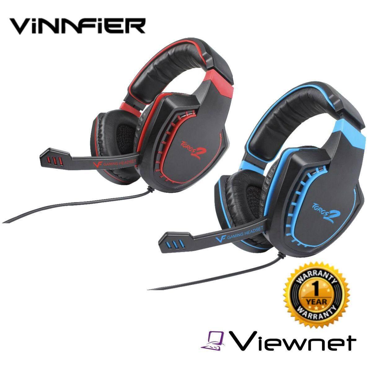Vinnfier 3.5MM Analog Gaming 2.1 Toros 2 Wired Headphone (Black Red/Black Blue)