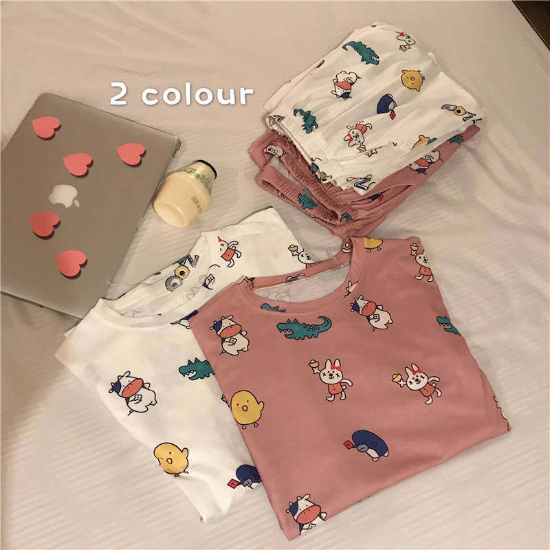 Bolster Store Women Comfortable Fabric Long Sleeve and Long Pant Cutie Cartoon Design Sleepwear Nightwear Pajamas Pyjamas Set