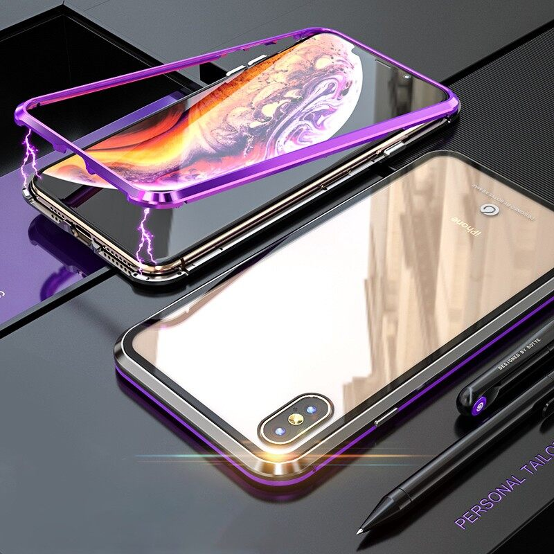 iPh Soft Cover - Protective Case for iPh XS Max Magnetic Adsorption Metal - BLACK PURPLE / FULL SILVER / BLACK BLUE / FULL BLACK / FULL RED