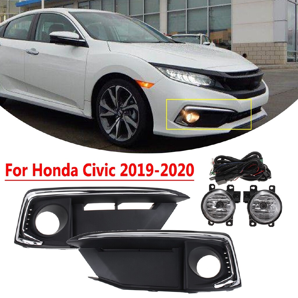 Car Lights - For Honda Civic -2020 Front Bumper fog Light Lamp SET with Wiring & Switch - Replacement Parts
