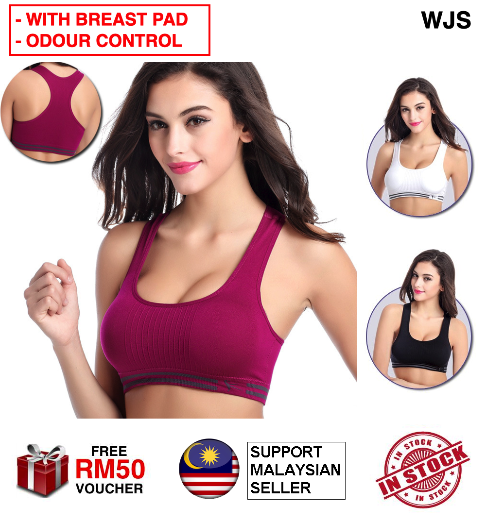 (WITH BREAST PADS) WJS Odour Control Sports Bra Yoga Bra Sport Bra Soft Comfy Fitness Bra Push Up Genie Bra Yoga Bra Gym Exercise Bra Gym Bra Sukan MULTICOLOR MULTISIZE [FREE RM 50 VOUCHER]