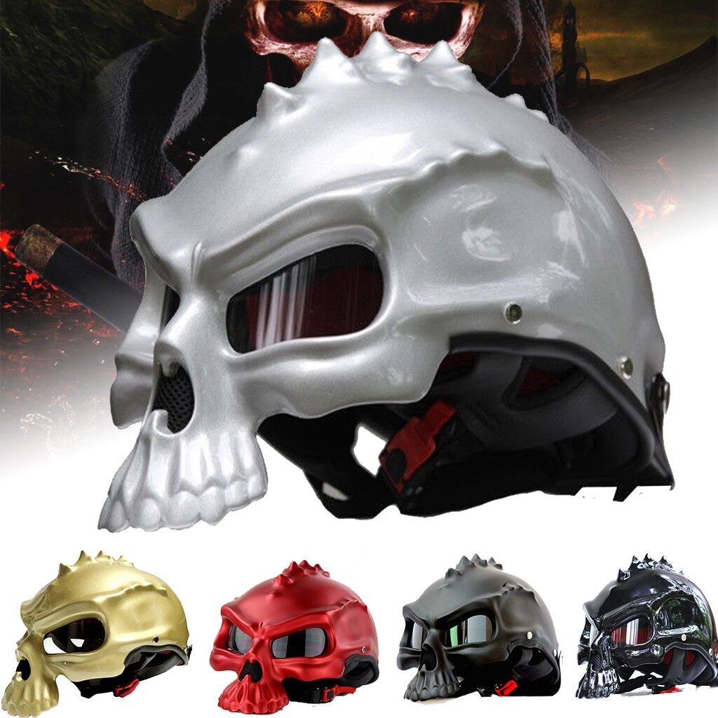 Moto Helmets - Masei Dual Use Skull Motorcycle Half Face Helmet Novelty Casque Motorbike - CHAMPAGNE M / CHAMPAGNE L / CHAMPAGNE XL / BRIGHT BLACK M / BRIGHT BLACK L / BRIGHT BLACK XL / BLACK M / BLACK L / BLACK XL / SILVER M / SILVER L / SILVER XL /