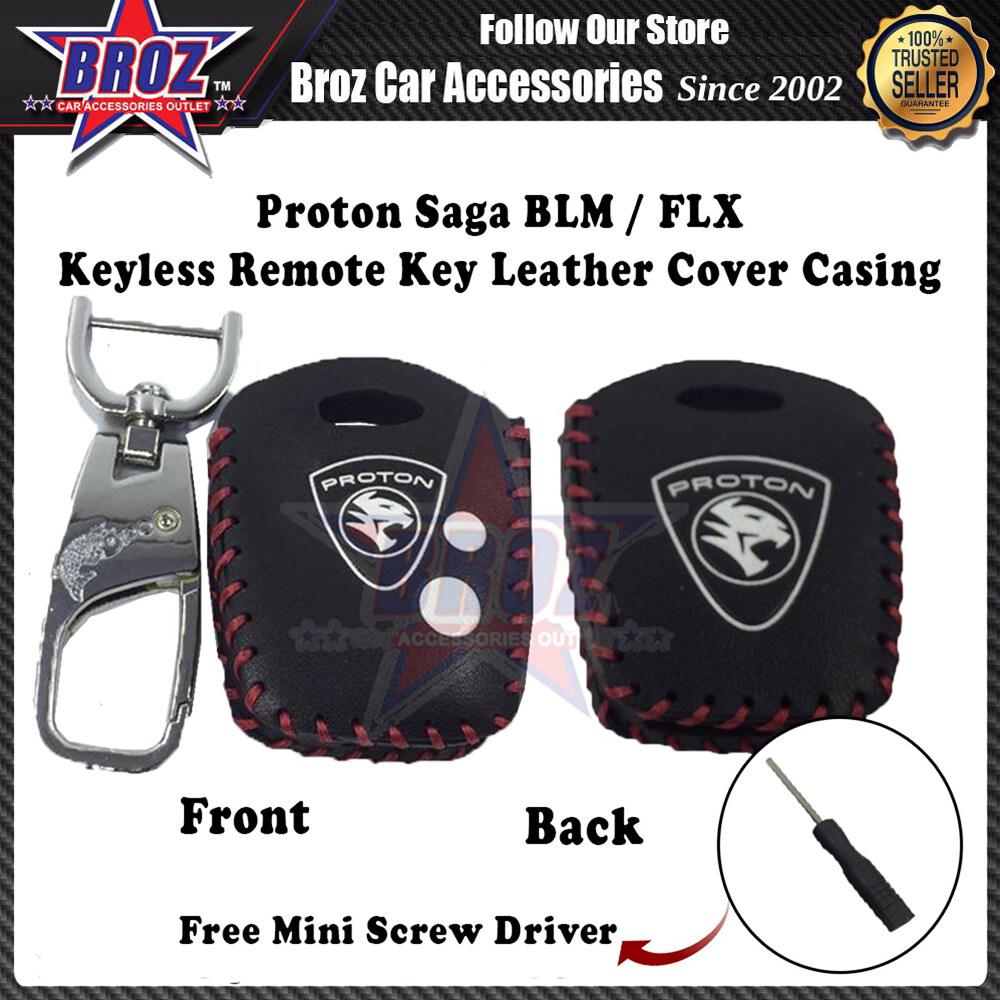 Saga BLM FLX Hand-Sewn Leather Keyless Remote Key Cover Casing (Black-RedLine)