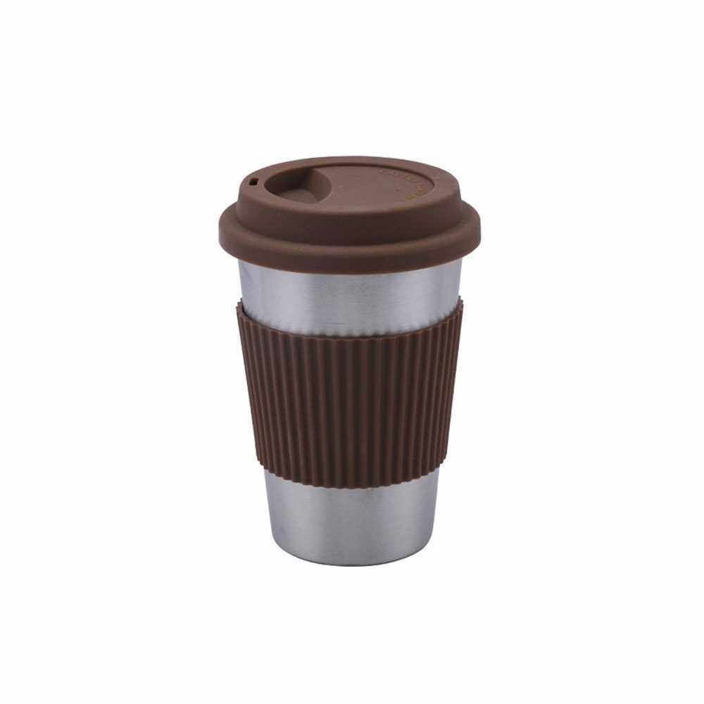 Stainless Steel Cup with Silicone Lids and Sleeves Unbreakable Drinking Eco-friendly Coffee Milk Juice Mugs Tumblers (Brown)