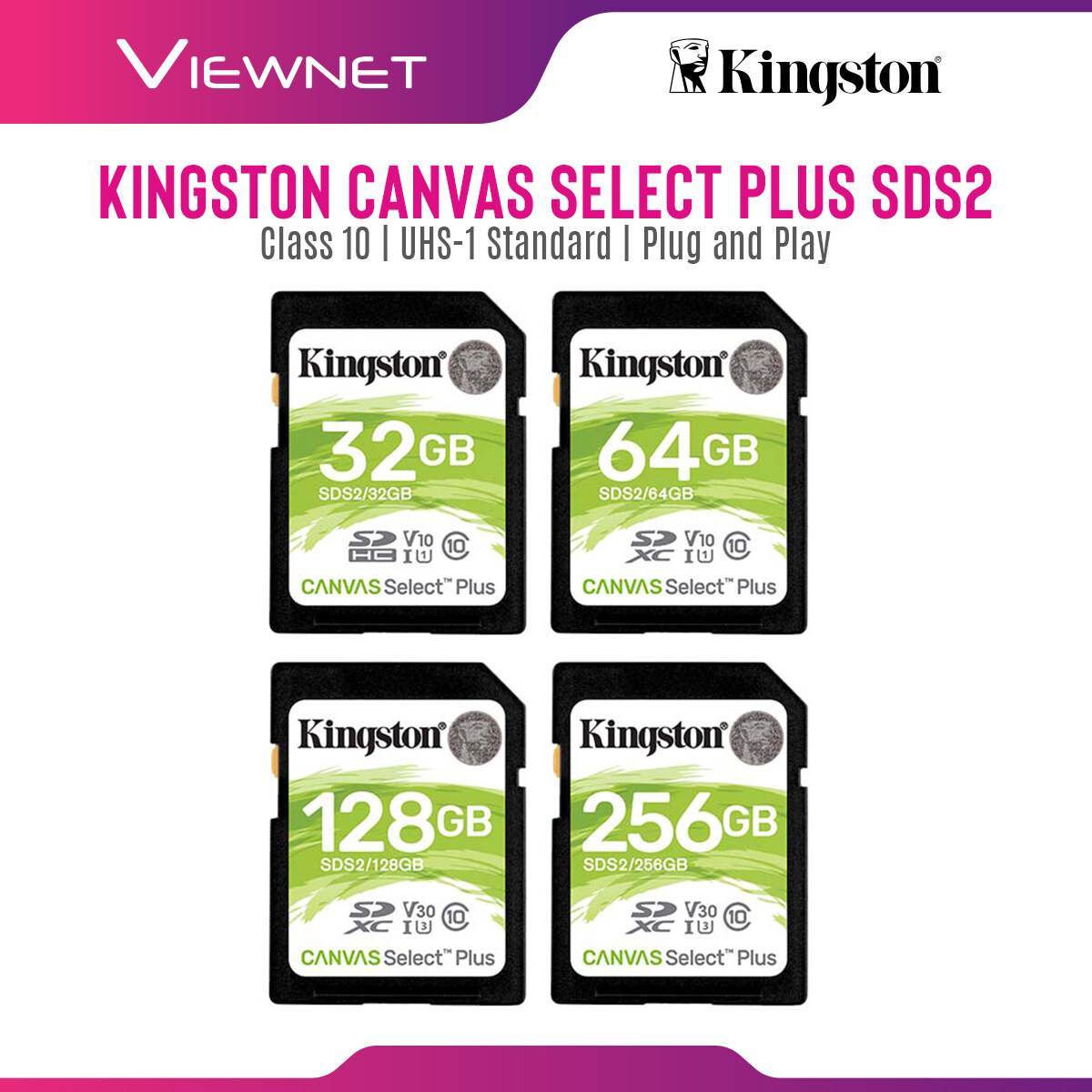 Kingston Canvas Select Plus SD Card with Class 10, USH-1 Standard, Full HD Capture,  Plug and Play (32GB / 64GB / 128GB / 256GB)