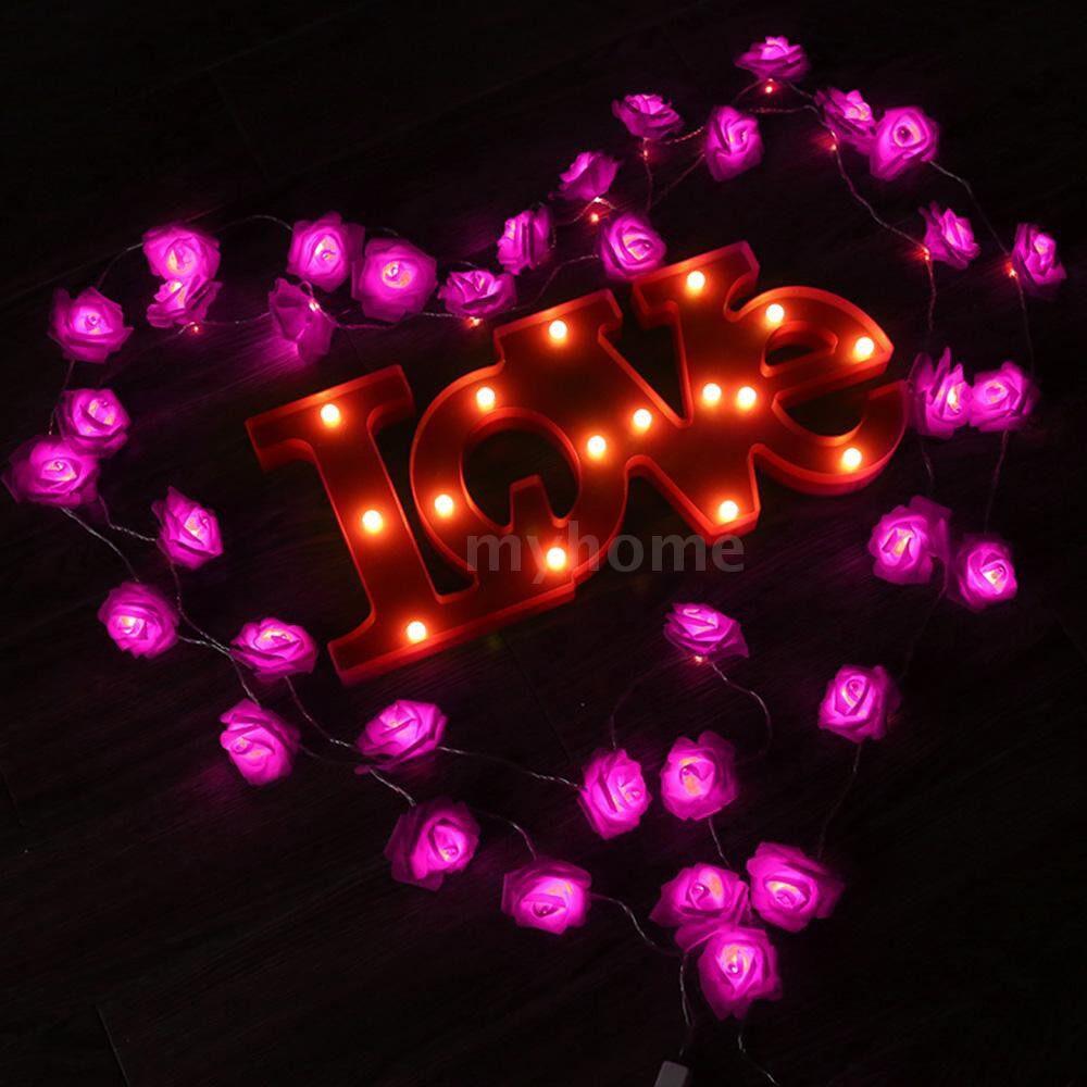 Lighting - LED Rose String Light with 2 Modes 2.5-meter Length 20 Bulbs Fairy String Lights Bed Light Night - Home & Living