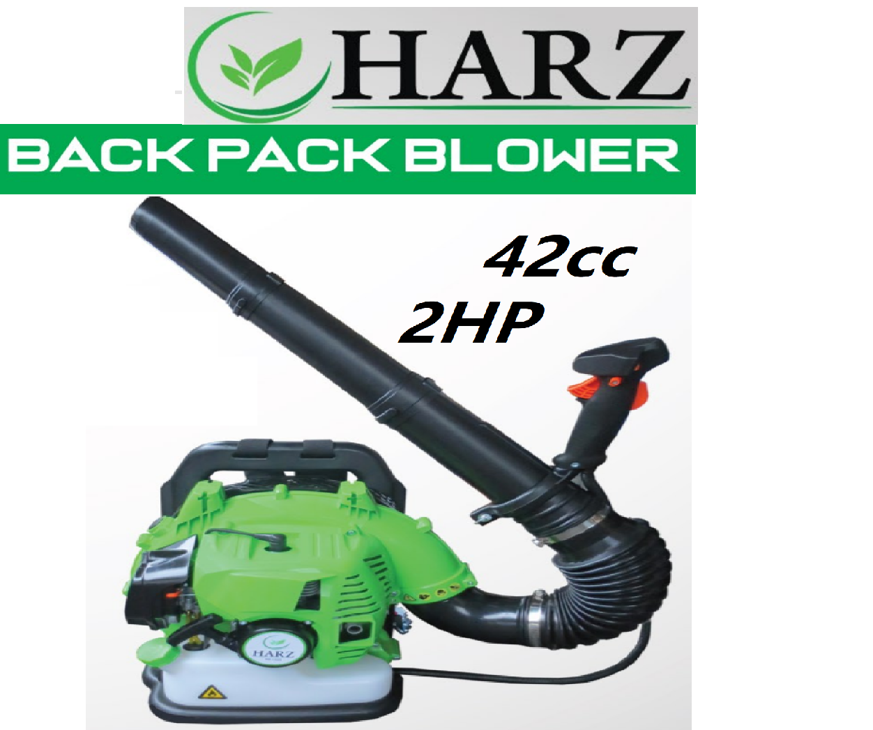 HARZ 2hp 42cc engine turbo back pack hand air blower fan blade fly exhaust cleaner leaf tree back pack power garden up out vacuum high pressure press force lawm jet starter nozzle hose set gasoline petrol potable carry take flow supply roller tool machine