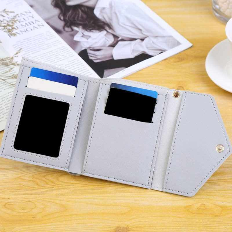 Fashion Women Tassel Short Wallet PU Leather Solid Color Small Folded ID Credit Card Holder Purse (Light Grey)